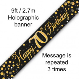 Happy 70th Birthday Black & Gold Sparkling Fizz Holographic 9ft Banner