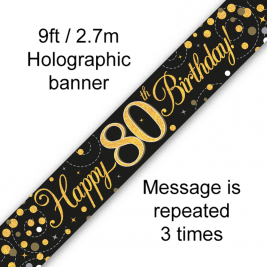 Happy 80th Birthday Black & Gold Sparkling Fizz Holographic 9ft Banner