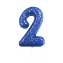 Age 2 Blue Glitter Numeral Candle