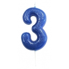 Age 3 Blue Glitter Numeral Candle