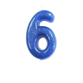 Age 6 Blue Glitter Numeral Candle