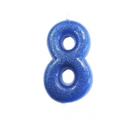 Age 8 Blue Glitter Numeral Candle