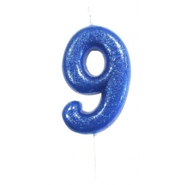 Age 9 Blue Glitter Numeral Candle