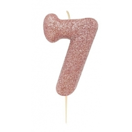 Age 7 Rose Gold Glitter Numeral Candle