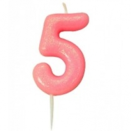 Age 5 Pink Glitter Numeral Candle