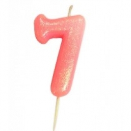Age 7 Pink Glitter Numeral Candle