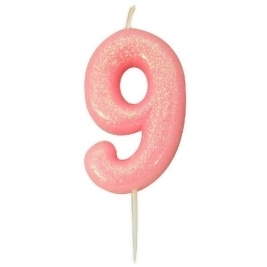 Age 9 Pink Glitter Numeral Candle