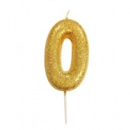 Age 0 Gold Glitter Numeral Candle