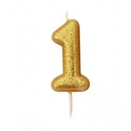 Age 1 Gold Glitter Numeral Candle
