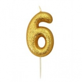 Age 6 Gold Glitter Numeral Candle
