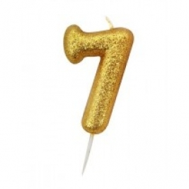 Age 7 Gold Glitter Numeral Candle