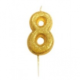 Age 8 Gold Glitter Numeral Candle