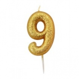Age 9 Gold Glitter Numeral Candle