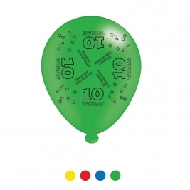 Age 10 Unisex Birthday Latex Balloons - Pack of 8