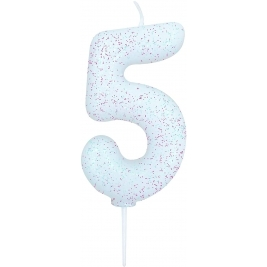 Age 5 Iridescent Glitter Numeral Candle