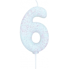 Age 6 Iridescent Glitter Numeral Candle