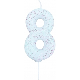 Age 8 Iridescent Glitter Numeral Candle