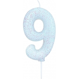 Age 9 Iridescent Glitter Numeral Candle
