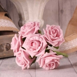 Baby Pink Foam Tea Rose - 6 stems