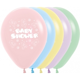 Baby Shower Assorted Pastel Latex Balloons 11 Inch - 50 Pack