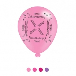 Birthday Girl Latex Balloons - Pack of 8
