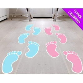 Blue Baby Foot Prints for Baby Shower Party - 15pc