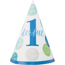 Blue Dots 1st Birthday Baby Party Hat