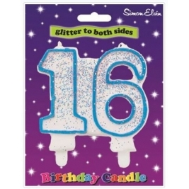Blue Number 13 Glittered Birthday Candle