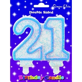 Blue Number 18 Glittered Birthday Candle