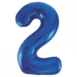 Blue Number 2 Foil Balloon - 34