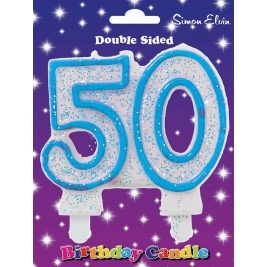 Blue Number 40 Glittered Birthday Candle