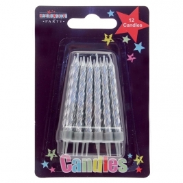Silver Party candles 12pcs