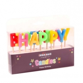 Happy Birthday Multi Colour Pick Candle
