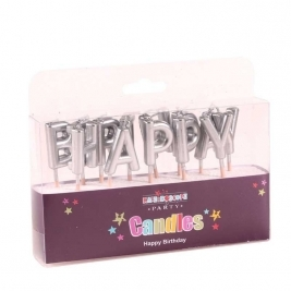 Happy Birthday Metallic Silver Pick Candle