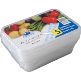 Extra Value Micro Containers Boxes with Lids 650Cc /650ml - 5Pk