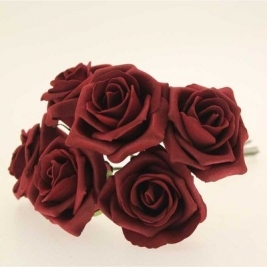 Georgia Foam Rose Burgundy (5.5cm) - 6 stems