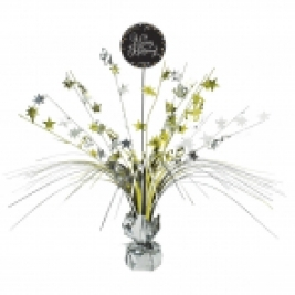 Gold Sparkling Celebration Happy Birthday Centrepiece Spray 45cm