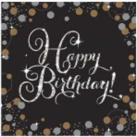 Gold Sparkling Sparkling Celebration  Happy Birthday Luncheon Napkins