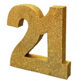 Number 21 Gold Glitter Table Decoration