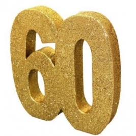 Number 60 Gold Glitter Table Decoration