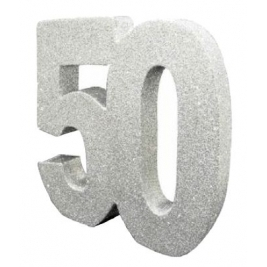 Number 50 Silver Glitter Table Decoration