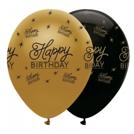 Happy Birthday Black and Gold Pearlescent Latex Balloons All Round Print - Pack of 6