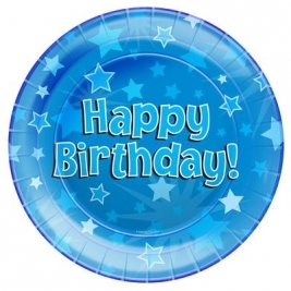 Happy Birthday Blue Plates 8pcs 9