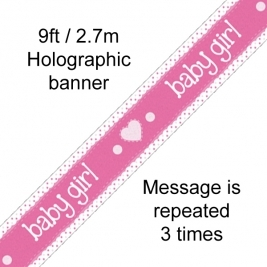It�s a Girl Pastel Heart Holographic Dot Banner - 9ft