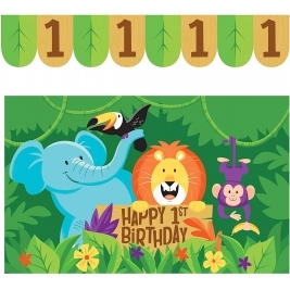 Jungle Safari High Chair Kit - Banner 8.9 x 66cm & Plastic Floor Mat 76.2 x 121.9cm