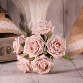Light Pink Foam Tea Rose - 6 stems