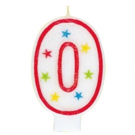 Number 0 Glitter Candle With Happy Birthday Cake Topper