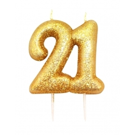 Number 21 Gold Glitter Numeral Moulded Pick Candle