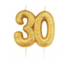 Number 30 Gold Glitter Numeral Moulded Pick Candle