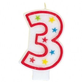 Number 3 Glitter Candle With Happy Birthday Cake Topper
